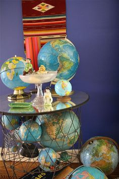 Globe table! But take globes off their base and only have them IN the table.