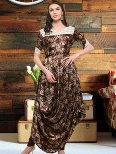 995bb4e2ab  Brown  Cowl Style Satin Kurti Shirt Style Kurti