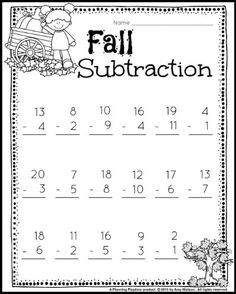 Fall subtraction worksheets for grade math. First Grade Math Worksheets, 1st Grade Activities, 1st Grade Science, Kindergarten Math Worksheets, 1st Grade Math, Grade 1, Classroom Activities, Second Grade, Addition And Subtraction Worksheets