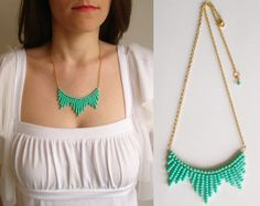 seed bead turquoise chevron necklace-lovely!