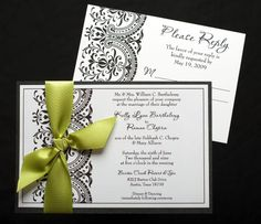 Love the black and white classic wedding and this green gives it a great pop