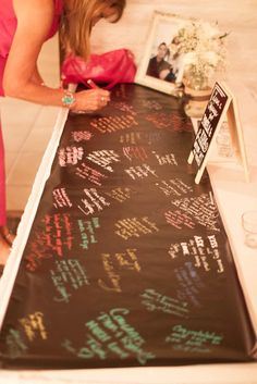 "Chalkboard runner guest book ""graffiti wall"" made with contact paper and chalk pens"
