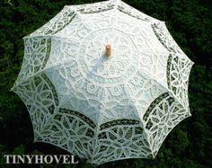 Old Fashion Battenburg Lace Umbrella Wedding Parasol for Bridal vintage lace parasol for Bridesmaid,Wedding gift
