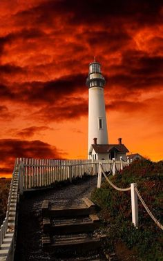 Pigeon Point Lighthouse about 40 miles south of San Francisco. By *Alle… Red Sky. Pigeon Point Lighthouse about 40 miles south of San Francisco. Image Deco, Lighthouse Pictures, Beacon Of Light, Planet Earth, Belle Photo, Paths, Beautiful Places, Beautiful Sky, Scenery