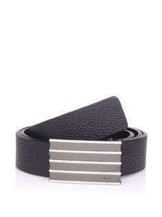 Calvin Klein Men's Flat Strap Belt with Plaque at MYHABIT