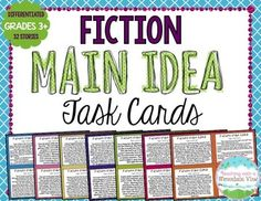 Your students will LOVE practicing main idea with these 32 engaging main idea task cards! This task card set includes 32 brief fictional stories to use for generating and discussing main idea and detail statements in FICTION. Reading Centers, Reading Fluency, Reading Intervention, Reading Strategies, Reading Activities, Reading Skills, Teaching Reading, Guided Reading, Third Grade Reading