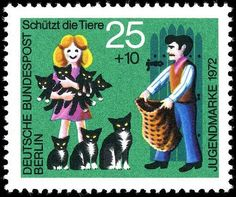cat postal stamp.....the girl is smiling but the guy with the bag kind of scares me...