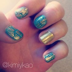 turquoise and gold crackle nail polish