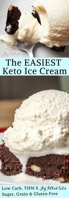 Perfect Vanilla Ice Cream - Low Carb, Grain Gluten Sugar Free, THM S, Keto, 6 Ingredients, Easy Dessert - Sometimes you need a perfect simple Vanilla Ice Cream. It goes well in sundaes, with pie, on top of a warm brownie, & right from the container with a spoon.