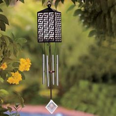 Enhance your summer evenings outdoors with a Solar Lamp wind chime by PartyLite Solar Lanterns, Solar Lamp, Solar Lights, Solar Wind Chimes, Wind Sculptures, Candles Online, Feng Shui, Outdoor Decor, Outdoor Living
