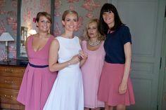 Marine et ses bridemaids Mademoiselle de Guise / mariage / weddingdress / white / chevron / balloon / pink & navy / demoiselles d'honneur