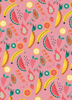 happy fruit pattern by Naomi Wilkinson