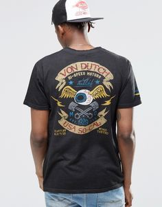 Shop Von Dutch T-Shirt With Back Print at ASOS. Motorcycle Fashion, Motorcycle Style, Von Dutch, Kustom, Fashion Online, Graphic Tees, Asos, Graphics, Mens Tops