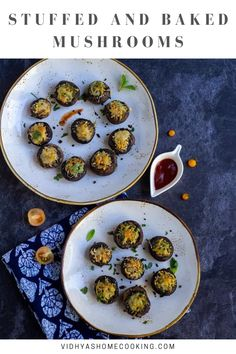 Easy to make stuffed mushrooms recipe! Mushroom caps layered with pesto, panko bread crumbs, and cheese and baked. An amazing crowd-pleasing appetizer perfect for parties and potlucks.                #mushrooms #stuffedmushrooms #vegetarian #healthy | vidhyashomecooking.com @srividhyam