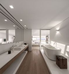 Master bedroom and bath with standalone bathtub