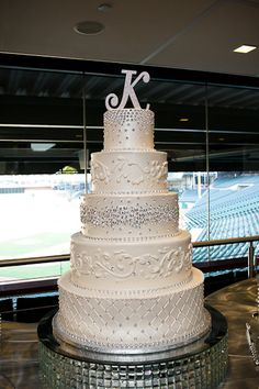 Texas Rangers Wedding at the Ballpark in Arlington, bride's cake, five tiers, bling, rhinestones, dallas wedding photographer    #TheKindnessRipple #Gratitude #Kindness www.TheKindnessRipple.net