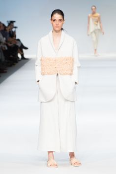 LOOK 3 designed by Cora Bellotto, The EcoChic Design Award 2015/16 Second Prize Winner – Up-cycled quilted coat with woven panel, blouse and reconstructed trousers made from secondhand textiles #Redress #ECDA #EcoChicDesignAwards #SustainableFashion #CoraBellotto