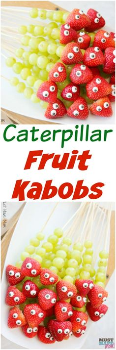 Easy caterpillar fruit kabobs party food ideas! Great healthy party food for kids that is a cute caterpillar!