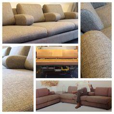 Vintage Leolux sofa 704 before and after restauration.