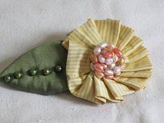 Handmade Hand Beaded Yellow & Gold Striped Silk by nedaoriginals, $28.00