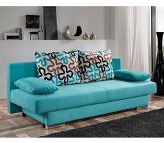 Couch-türkis-Sofa-mit-Kissen-die-gemusterte-sind