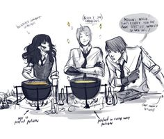 In which Edward is a Hogwarts student and obviously better in potions than Hermione. Ron is amused and Hermione issuspicious (jealous).