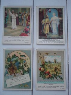 Set of Four Antique Sunday School Cards - Mixed Themes.