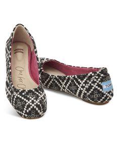 ae6e17ab TOMS Black & White Tribal Classic Ballet Flat | zulily Toms Ballet Flats,  Ballerina Flats