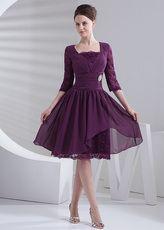 Plaza de uva cuello mangas media rodilla longitud chifón Prom vestidos