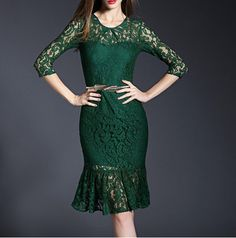 Buy Hot Selling Fashion Women Lace Bodycon Green Dress From China Wholesale Online Website. Buy Dress, Lace Dress, Elegant Dresses For Women, Celebrity Dresses, Cheap Dresses, Formal Dresses, Green Dress, Dress Outfits, Evening Dresses
