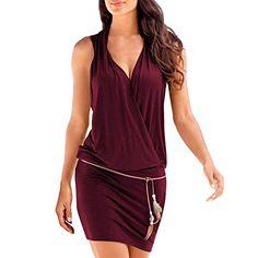 ba2f77c4832a1 SUNNOW Elégante Tunique Robe Femmes Casual d été sans Manches Col V Profond  Robe de Plage Mini Robes T-Shirt Party Robe Court Mini Robe (S Vin Rouge)