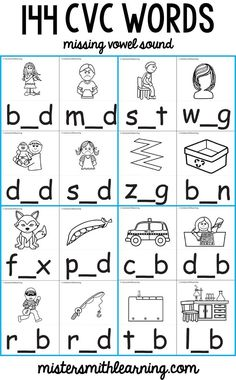 Fun CVC activity for early reading practice. Fill in the correct vowel sounds. Perfect when laminated and used with a dry erase marker. Kindergarten Special Education, English Worksheets For Kindergarten, Vowel Worksheets, Printable Worksheets, Phonics For Kids, Reading Practice, Reading Skills, Have Fun Teaching, Vowel Sounds
