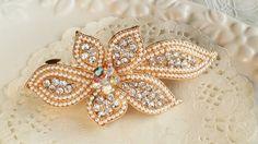 Crystal flower headpiece vintage pearl hair barrette clip by missvirgouk, $9.50