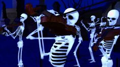"""This is a 2010 illustration of Camille Saint-Saens' Danse Macabre. The person who made video wrote:   """"According to legend, """"Death"""" appears at midnight every year on Halloween. Death calls forth the dead from their graves to dance their dance of death for him while he plays his fiddle. His skeletons dance for him until the rooster crows at dawn, when they must return to their graves until the next year. This is my treat to you all...You might like it or you may hate it but it is dear to me."""""""