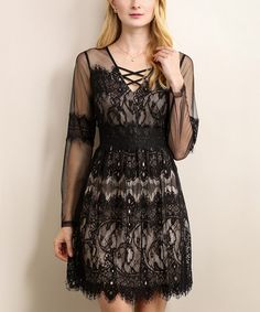Black & Nude Lace-Up A-Line Dress #zulily #zulilyfinds