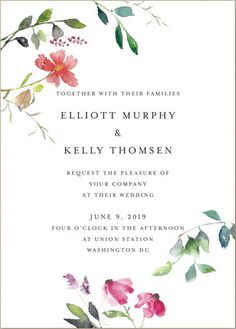 Pretty Floral Wedding Invitations #sponsored Minted