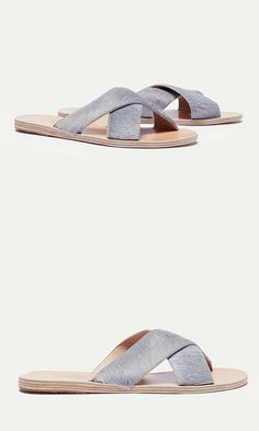 Sandal: a no-fuss, crisscross slide in natural pony leather. ==