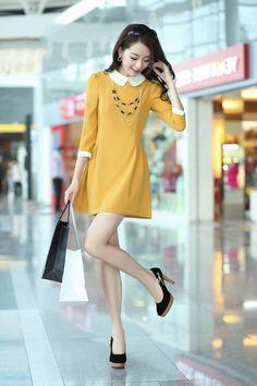Đầm xòe cổ sen tay lỡ màu vàng-MD1201 Giá: 300.000đ - Màu sắc: vàng - Chất liệu: thun laza - Kích thước: S/L