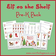 FREE Elf on the Shelf Pre K Pack!        In this Pre-K Pack:  Prewriting Practice Sheets  Cutting Practice  Which one is different?  Finish the Pattern Sheet  Size Sequencing Sheet  Santa's Helpers Strip Puzzle   4-piece puzzles  Sorting Practice  Counting Practice Cards  Color Elf on the Shelf  Letter and Sound Finding Cards 3-Part Vocabulary Cards