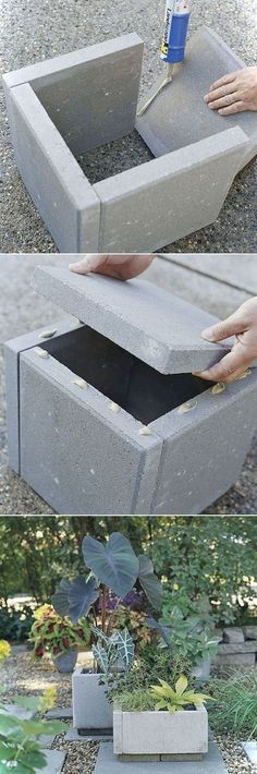 DIY Concrete Planter Box Notice the & # quasi-natural & # Appearance of path combination … - Diy Garden Projects Concrete Planter Boxes, Diy Planter Box, Diy Planters, Garden Planters, Concrete Pavers, Concrete Garden, Cement Planters, Outdoor Planters, Outdoor Gardens