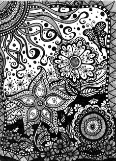 Summer Daze A whimsical garden oasis of patch worked doodles with a multitudeflowers, butterflies and a sizzling sun. Doodles,