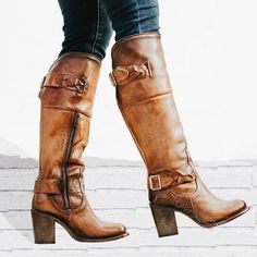 05ce176b6c2a Vintage Braided Strap Boots Chunky Heel Side Zip Boots