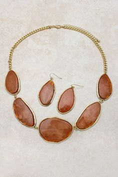 Chestnut Color Necklace and Earrings.