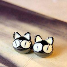 cat earrings| $2.65  kawaii hipster harajuku cute cat fachin gyaru earrings jewelry accessories under10 under20 under30 rosegal free shipping