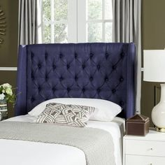 Whether your restful retreat is eclectic and eye-catching or casual and transitional, this upholstered wingback headboard blends effortlessly into any aesthetic. Its diamond-tufted details add a refined touch to your decor while its lightly arched silhouette brings visual appeal to any space. Add this piece to a traditional master suite alongside linen barrel arm chairs and a turned-legged writing desk for a cohesive ensemble, then dress up the walls with equestrian canvas prints and arched…