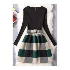 Plaid Print Long Sleeve Skater Dress (€20) ❤ liked on Polyvore featuring dresses, black, plaid dress, long-sleeve mini dress, long sleeve print dress, skater dresses and mini skater dress