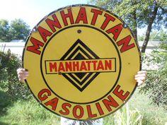 Vintage Sign Manhattan Gasoline ca.1917 Double Sided Porcelain Very Rare  #ManhattanGasoline