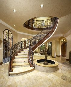 Staircase Open Staircase Design, Pictures, Remodel, Decor and Ideas - page 26 Luxury Staircase, Foyer Staircase, Spiral Staircase, Staircase Design, Stair Design, Staircase Outdoor, Staircase Ideas, Casa Retro, House Stairs