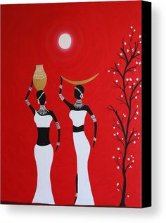 Tribe Canvas Print featuring the painting Tribal Art by Kalyani Zodey