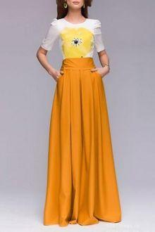 Yellow Floral Short Sleeve Maxi Dress